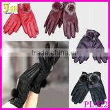 New Hot Fashion Ladys Womens Gloves PU Leather Cute Rabbit Fur Ball Warm Winter Gloves Mittens