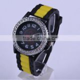 Geneva silicone watch women with diamonds
