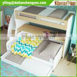 Twin Modern Wood Bunk Bed with Desk and Storage