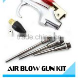 5pc Air Compressor Blow Gun Tool Kit 3 Nozzles Inflation Needle Spray Blower Rubber Tip Kit 1/4""