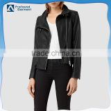 Fashion double buckle high collar asmmetric zip fastening faux PU leather winter biker jacket women