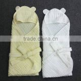 Organic Cotton Muslin Hooded Baby Blankets in 33.5 x33.5inch(85x85CM)-6 Layer Gauze Naturally Antibacterial Multifunction
