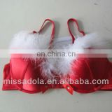 sexy fur lovely red bra for christmas