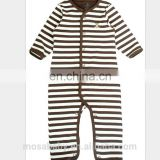 Infant Boys Cotton Romper Long Sleeves Brown/white Stripes Bodysuit suit for 0-18 Months