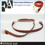 Brown Leather weave Belts with silver metal buckle BT0636