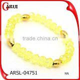 Stainless steel jewelry fashion yellow pink crystal bead bracelet