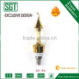 attractive price 3w C37 candle led bulb with Golden body, good use for chandelier fixture