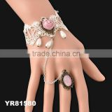 New Elegant Charm Retro Bridal Women Lace Hollow Bracelet Wristband Rose Ring