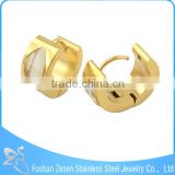 Factory hollow oval stone earring, gold plated clear stone earrings, stainless steel jewelry