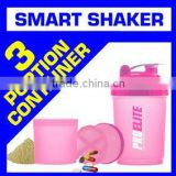 2015 New pc shaker bottle Custom foldable Plastic joyShaker Protein Bottle with container BPA Free