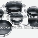 2015 New Products 10PCS High Quality 2.5mm Hard Anodized Aluminium Cookware Set With Fish Handle For Wholesale