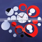 Red&silver Circle 3D Wall Sticker Modern Design Fashion Mirror DIY Wall Stickers SV010965