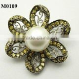 Korean flower shaped pearl brooch with cubic zirconia
