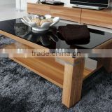 Glossy wooden black glass top coffee table