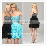 Beauty Sexy Layered Skirt Black Ice Blue Sweetheart Mini Cocktail Dress Homecoming Dress PG-016