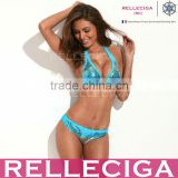 RELLECIGA Sequin Triangle Bikini Swimwear - Luxury and Ablaze with Lake Blue & Goldtone Stereo Bead Piece