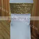 YHS#563 sequin band polyester banquet wedding wholesale chair cover sash bow                                                                         Quality Choice