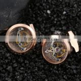 best selling premium Stainless watch movement cufflinks/ Mechanism hardware Jewelry cufflinks 2pcs/lot With box