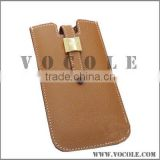 brown color genuine leather phone leather case for unisex