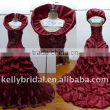Wine color with so many bubble Arabic wedding dress