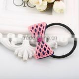 New arrival acrylic bow hair tie simple elastic hair band plastic rhinestone bow decoration children hair band