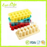 12 High Hearts Silicone Ice Cube Tray, Silicone Popsicle Maker with Sticks, Ice Cream Cake Mold