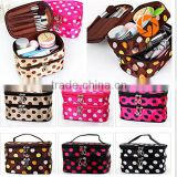 factory wholesale Colorful High Heel Geometric Print Coated Canvas Ladies Women Cosmetic bag