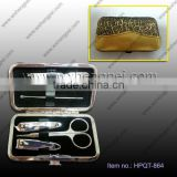 6PCS gold pattern wallet style fashion nail clippers Set