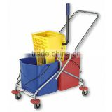 Side-press Double Mop Wringer Trolley