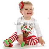 cute baby christmas white and red reindeer footed sleep suit pajamas wholesale