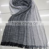 2016 spring hot designer Arab stripe voile lady soft crinkle rayon viscose scarf shawl stock
