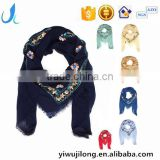 hot sale square headscarf pure cotton embroidery shawl scarf muslim hijab scarf for women