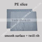 PE battery separator with smooth surface on one side and twill rib on the other side