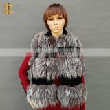 Black and Gray Fox Fur Scarf Fox Rabbit Fur Collar For Women