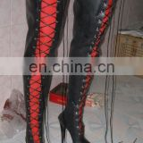 Latex thigh high lacing boots