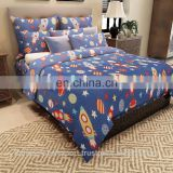 Rockets Kids Cotton Double Bedsheet with 2 Pillow Covers