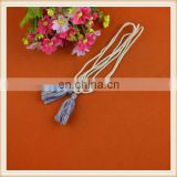 Fashionable wholesale cheap mixcolored cotton double head tassel rope with cord for girl suits