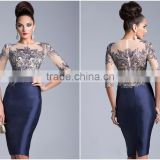 SuZhou Fashion Dress High Quality 2014 Hot Sale Royal Knee-Length Cocktail Dress with Beading and Sequined Elegan Cocktail Dress