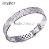 Discount System Best Quality Jewelry Fashion Classic Plain Cuff Full CZ Crystal Bangle