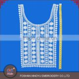 Hot sale decorative patch fashion women Vest shape neck collar design cotton crochet white lace