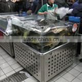APEX supermarket aquarium standing on stainless steel trolley glass display fish tank