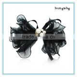Fancy tulle bow hair barrette, rhinestone beads hair bow clips