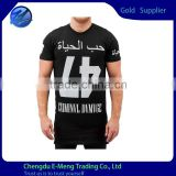New Design Black Men Body Fitted Short Sleeve Tall Tshirts with Print