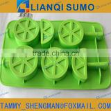 FDA Food Grade plastic Silicone ice lolly moulds with sticks orange shape
