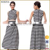 Fashion Design Black and White Stripe Suit For Girls