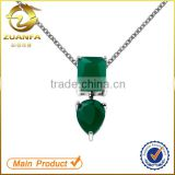 rhodium plated with thin chain brass green zircon pendant necklace                                                                                                         Supplier's Choice