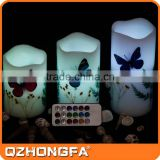 12 Colors remote control Butterfly Loves Flowers paraffin wax led candle                                                                         Quality Choice