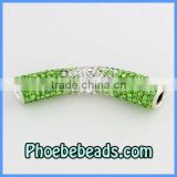 Rhinestone Crystal Tube Beads Wholesale Bending Shamballa Charms Connectors Spacer For Bracelets CTB-013