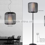 best price pendant lamp hot sale black iron cage white fabric inner shade indoor fancy restaurant hanging light from Guzhen