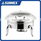 SUNNEX High Quality Special-designed All Stainless Steel Hydraulic Hinge Round Induction Chafing Dish / Buffet Food Warmer
